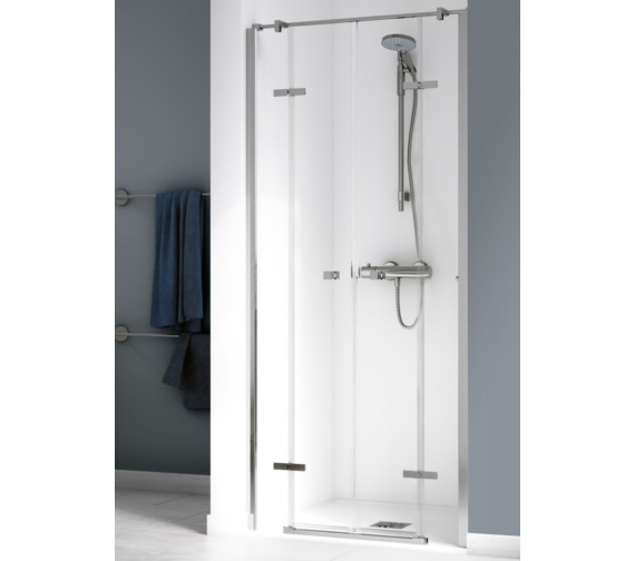 Aqualux Origin 900mm Recess Saloon Door With 2 Fixed Panels