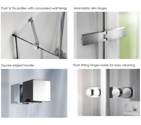 Alternate image of Aqualux Origin 800mm Recess Hinge Door With Fixed Panel