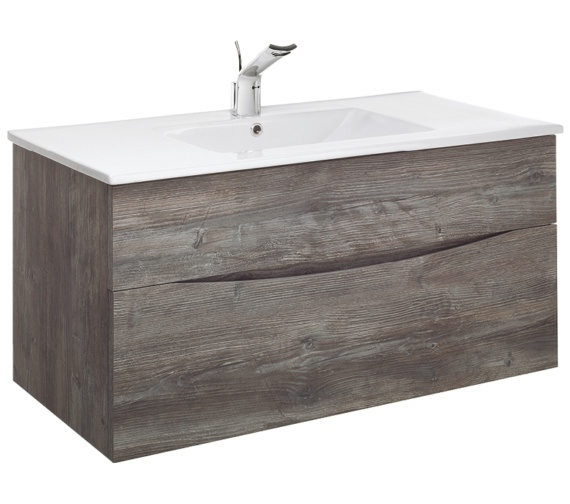 Alternate image of Bauhaus Glide II 1000mm Driftwood Double Drawer Vanity Unit