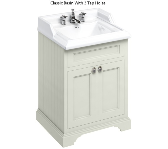 Additional image of Burlington Freestanding 650mm Sand Double Door Unit With Classic Basin