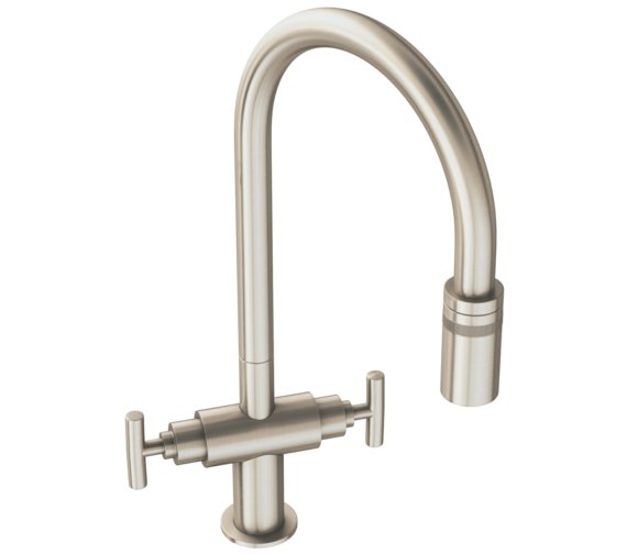 Abode Avior Brushed Nickel Monobloc Pull Out Kitchen Mixer Tap