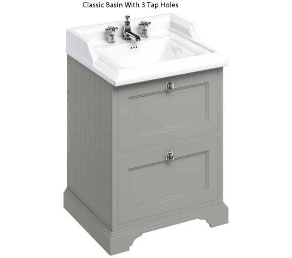 Additional image of Burlington Freestanding Olive 650mm Two Drawer Unit With Classic Basin