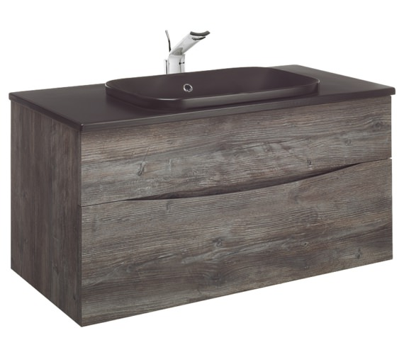 Bauhaus Glide II Driftwood 1000mm Unit With PlusTon Worktop And Inset Basin
