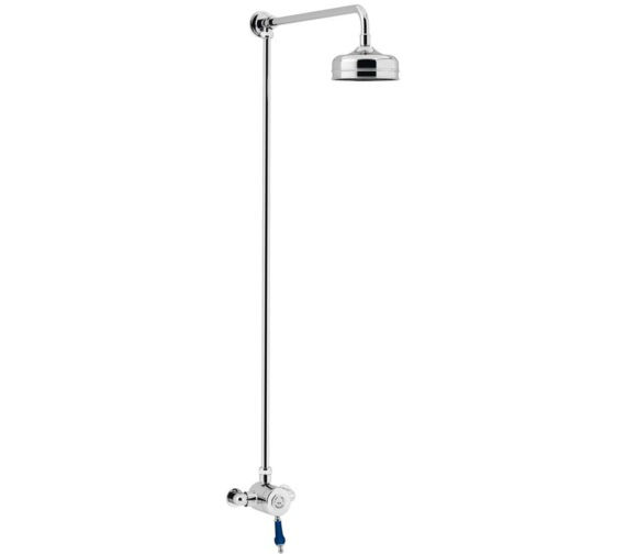 Heritage Glastonbury Exposed Thermostatic Chrome-Midnight Blue Rigid Riser