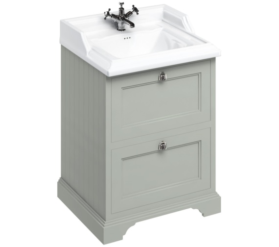 Burlington Freestanding Olive 650mm Two Drawer Unit With Classic Basin