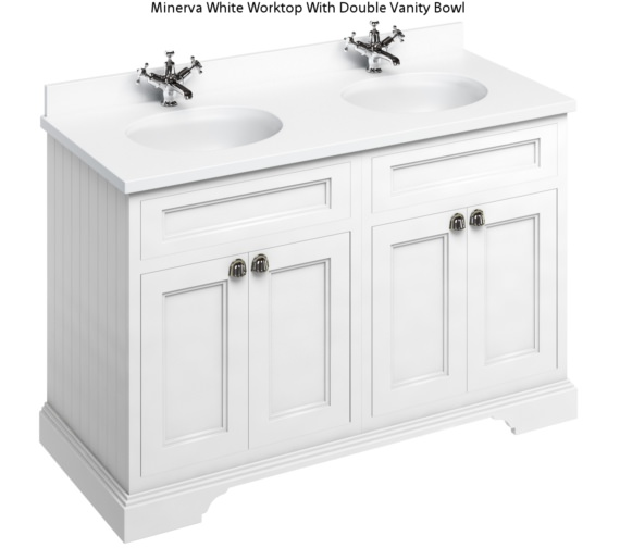Burlington 1300mm Matt White 4 Door Unit And Minerva Worktop With Two Basin