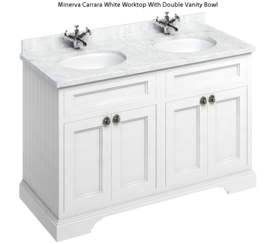 Alternate image of Burlington 1300mm Matt White 4 Door Unit And Minerva Worktop With Two Basin