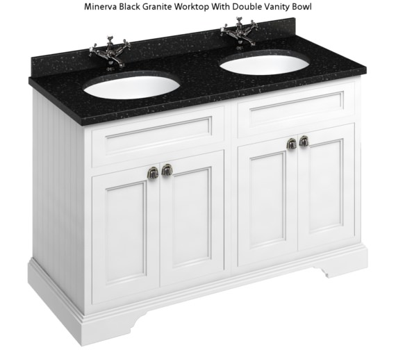 Additional image of Burlington 1300mm Matt White 4 Door Unit And Minerva Worktop With Two Basin