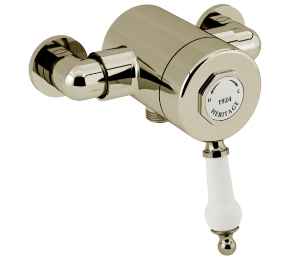 Heritage Glastonbury Exposed Thermostatic Gold Valve With Bottom Outlet