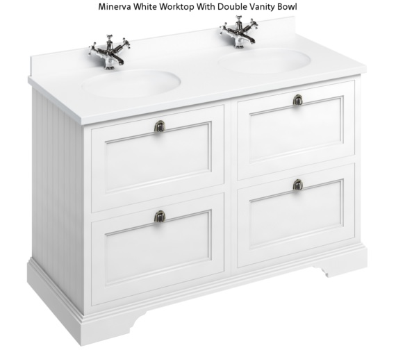 Burlington 1300mm Matt White 4 Drawer Unit And Minerva Worktop With Basin