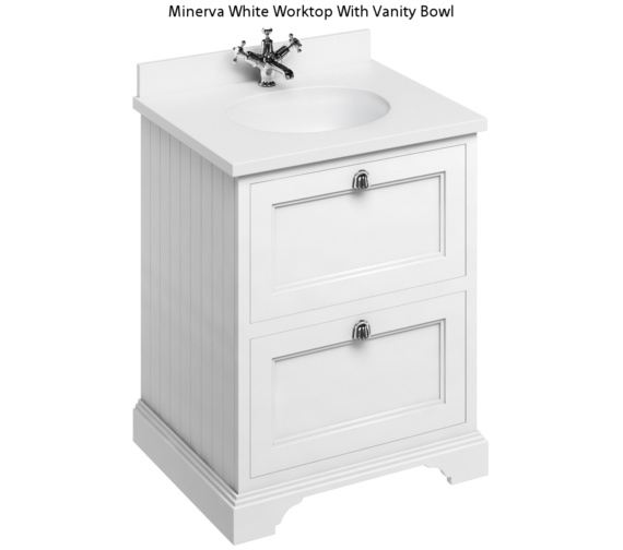 Burlington 650mm Matt White 2 Drawer Unit And Minerva Worktop With Basin