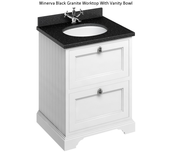 Additional image of Burlington 650mm Matt White 2 Drawer Unit And Minerva Worktop With Basin
