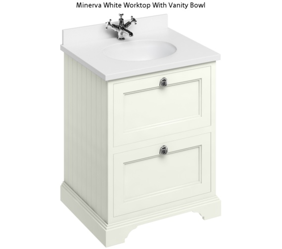 Burlington 650mm Sand Two Drawer Unit And Minerva Worktop With Basin