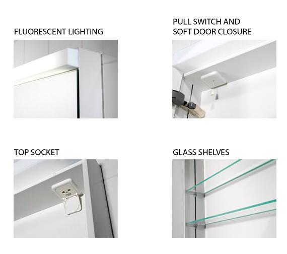 Additional image of Schneider Lowline 600mm 2 Door Mirror Cabinet With Flourescent Lighting