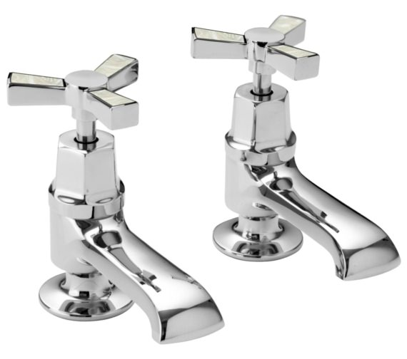 Heritage Gracechurch Basin Pillar Taps With Mother Of Pearl Handles