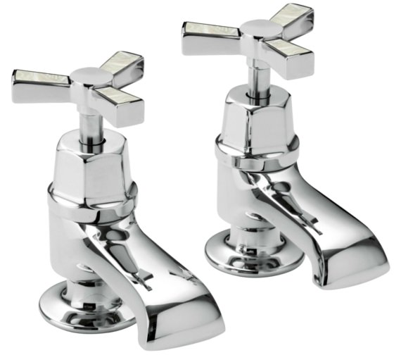 Heritage Gracechurch Bath Pillar Taps With Mother Of Pearl Handles