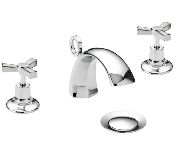 Heritage Gracechurch 3TH Basin Mixer Tap With Mother Of Pearl Handles