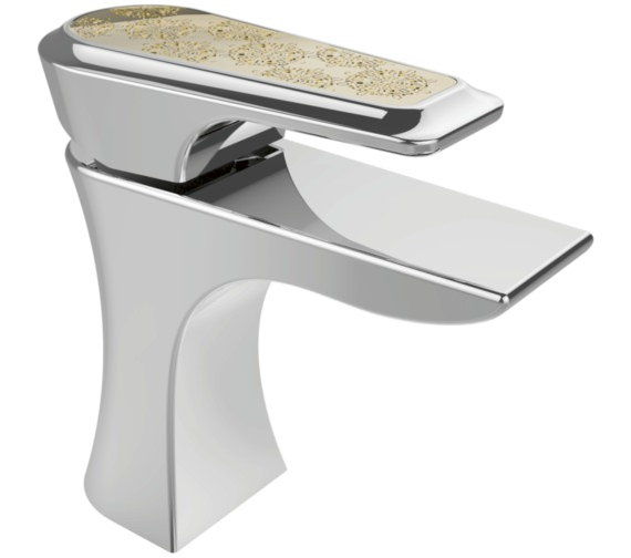 Heritage Lymington 1 Taphole Basin Mixer Tap With Lace Gold Handle