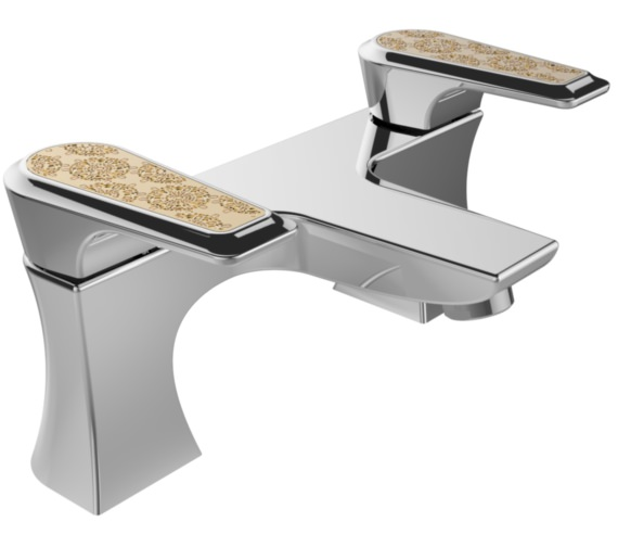 Heritage Lymington Bath Filler Tap With Lace Gold Handles