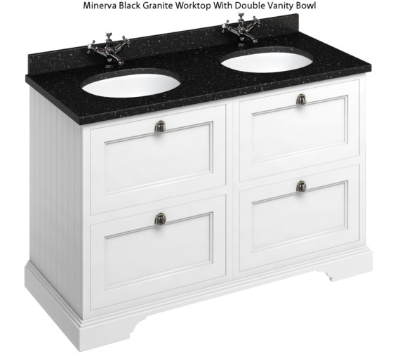 Alternate image of Burlington 1300mm Matt White 4 Drawer Unit And Minerva Worktop With Basin