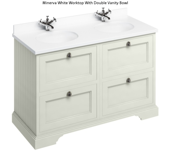 Burlington 1300mm Sand 4 Drawer Unit And Minerva Worktop With Basin