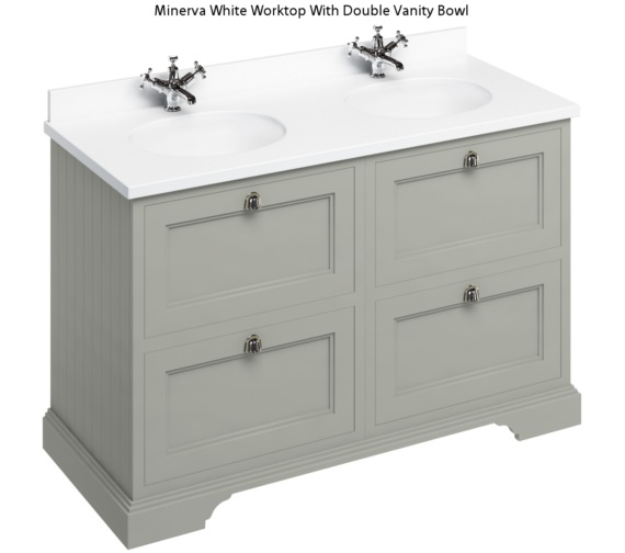 Burlington 1300mm Dark Olive 4 Drawer Unit And Minerva Worktop With Basin