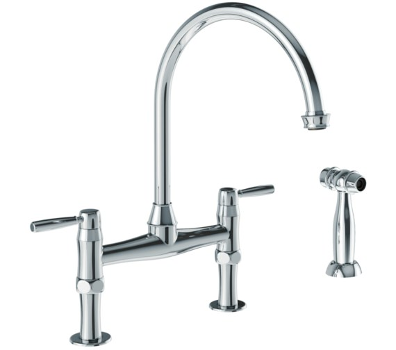 Abode Brompton Chrome Bridge Kitchen Mixer Tap With Handspray