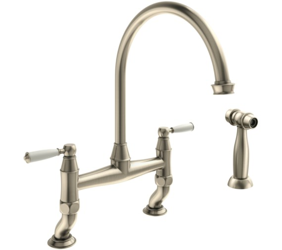 Abode Astbury Pewter Bridge Kitchen Mixer Tap With Handspray