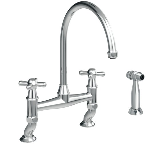 Abode Langley Bridge Kitchen Mixer Tap With Handspray Chrome