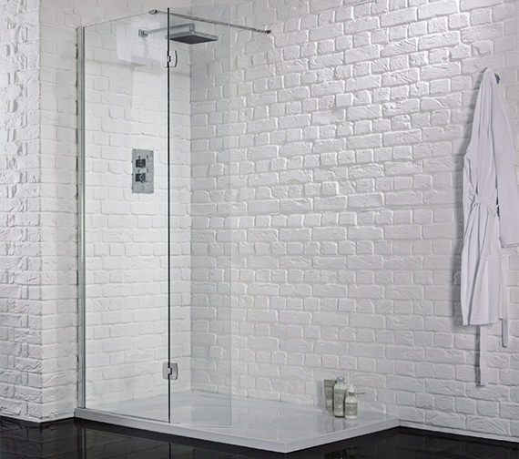Aquadart 1500mm x 2000mm Wetroom 8 Glass Panel With Return