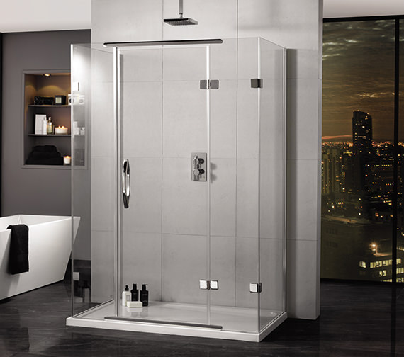 Aquadart Inline 1600 x 800mm 3 Sided Hinged Shower Door And Side Panels
