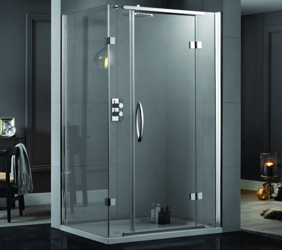 Aquadart Inline 1200 x 800mm 2 Sided Hinged Shower Door And Side Panel