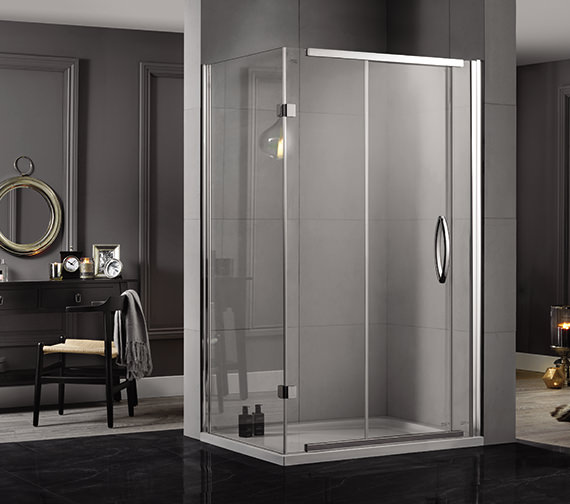 Aquadart Inline 1200 x 800mm 2 Sided Sliding Shower Door And Side Panel