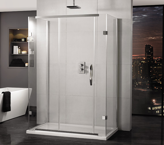 Aquadart Inline 3 Sided Sliding Shower Door And Two Side Panels