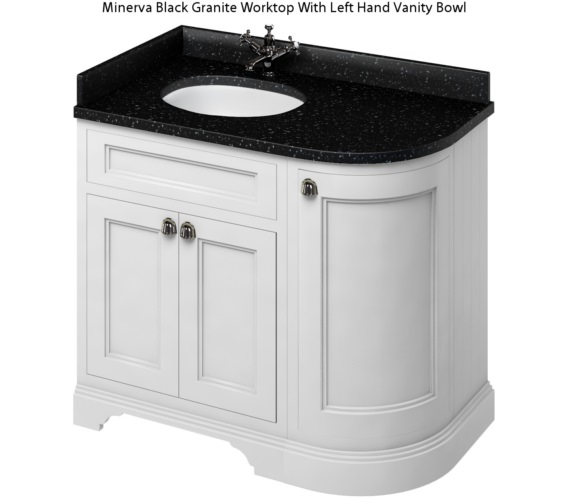 Alternate image of Burlington Freestanding 1000mm Matt White Left Hand Curved Vanity Unit