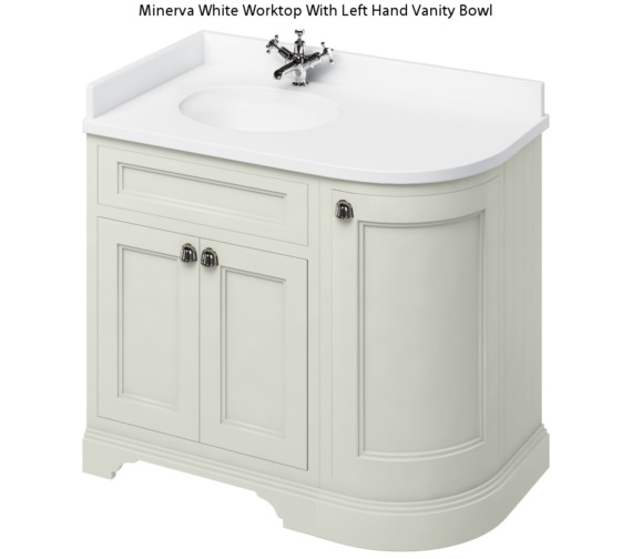 Burlington Freestanding 1000mm Sand Left Hand Curved Vanity Unit