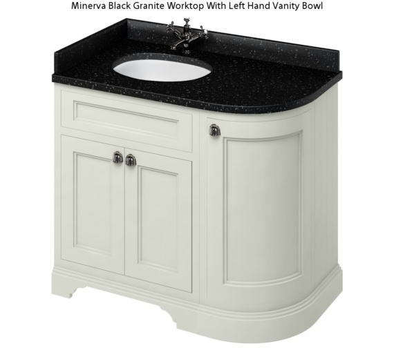 Additional image of Burlington Freestanding 1000mm Sand Left Hand Curved Vanity Unit