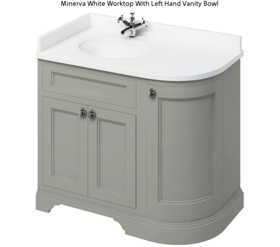 Burlington Freestanding 1000mm Dark Olive Left Hand Curved Vanity Unit