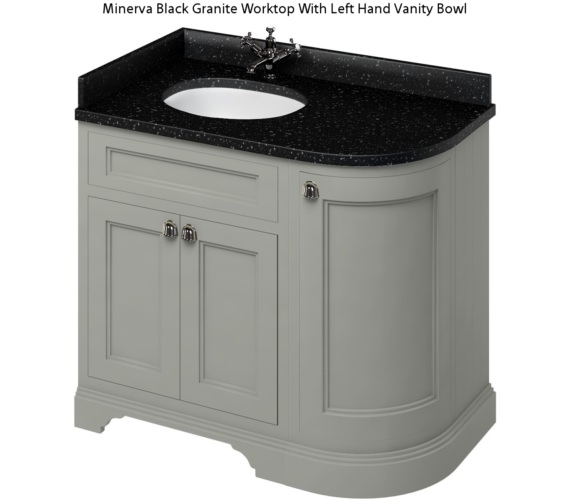 Additional image of Burlington Freestanding 1000mm Dark Olive Left Hand Curved Vanity Unit