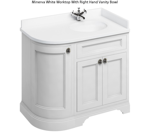 Burlington Freestanding Matt White 1000mm Right Hand Curved Vanity Unit