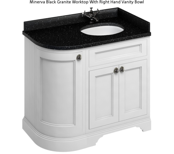 Alternate image of Burlington Freestanding Matt White 1000mm Right Hand Curved Vanity Unit
