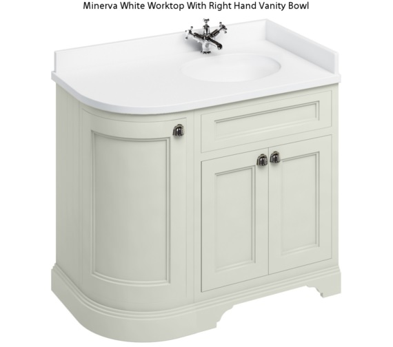 Burlington Freestanding 1000mm Sand Right Hand Curved Vanity Unit
