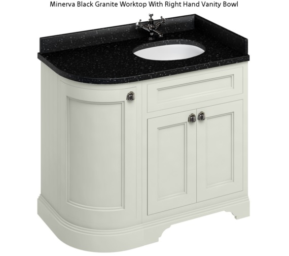 Additional image of Burlington Freestanding 1000mm Sand Right Hand Curved Vanity Unit