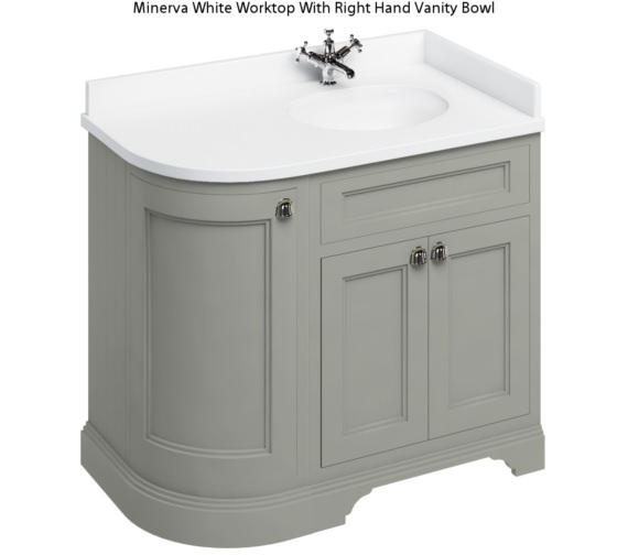 Burlington Freestanding 1000mm Dark Olive Right Hand Curved Vanity Unit