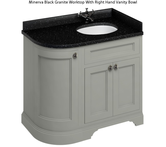 Additional image of Burlington Freestanding 1000mm Dark Olive Right Hand Curved Vanity Unit