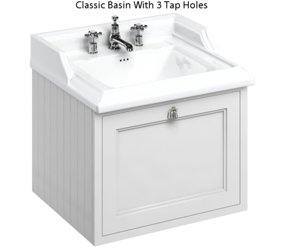 Alternate image of Burlington Wall Hung 650mm Drawer Unit With Classic Basin