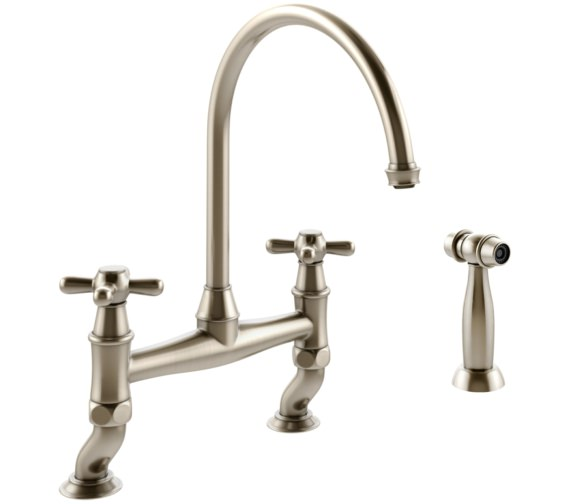 Abode Langley Bridge Kitchen Mixer Tap With Handspray Pewter