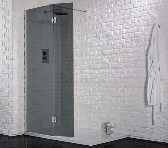 Aquadart 1200mm x 2000mm Wetroom 8 Smoked Glass Panel With Return