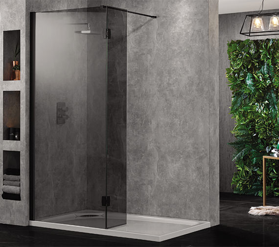 Aquadart Wetroom 10 Walk-In 800mm Smoked Glass Shower Panel