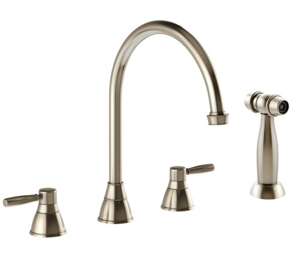 Abode Brompton Pewter 3 Hole Kitchen Mixer Tap With Handspray